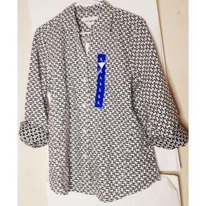 Foxcroft Button Up Blouse Blk/Wt Size Large NWT